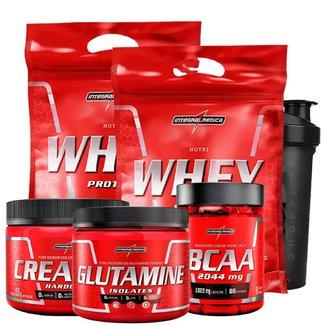 2X NUTRI WHEY REFIL 900G + CREATINA 150G + BCAA 90 CAPS + GLUTAMINA 150G + COQUETELEIRA CHOCOLATE