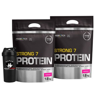 2x Strong 7 Protein 1,8kg + Coqueteleira - Morango- Probiotica