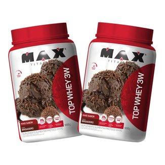 2x Top Whey Protein 3W 900g - Brigadeiro - Max Titanium