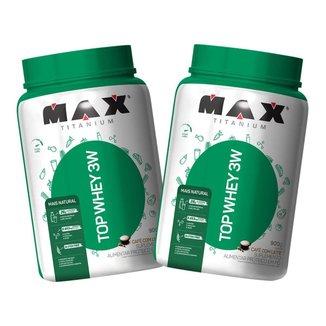 2x Top Whey Protein 3W 900g - Café com Leite - Max Titanium