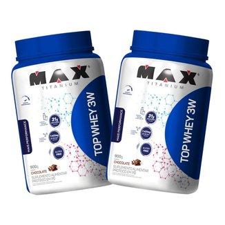 2x Top Whey Protein 3W 900g - Chocolate - Max Titanium