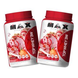 2x Top Whey Protein 3W 900g - Iogurte Grego de Morango - Max Titanium