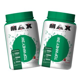 2x Top Whey Protein 3W 900g - Morango Natural - Max Titanium