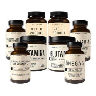 2X Vitamina D + 2X Vitamina C + 2X Glutamina + 2X Ômega 3 (60 Cápsulas) - Generic Labs