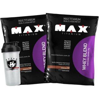 2x Whey Blend 2kg Chocolate + Coqueteleira - Max Titanium