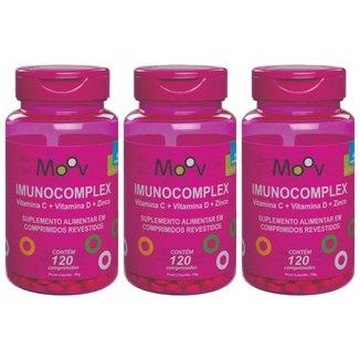 3 Imunocomplex Vitaminas C + D + Zinco p/ Imunidade 120 Comp