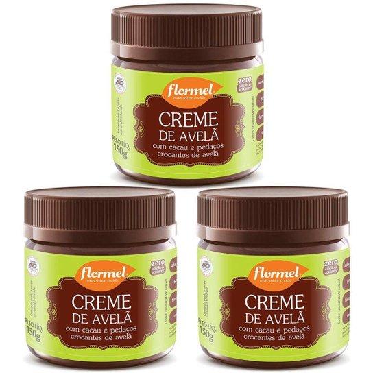3 Potes De Creme De Avela Crocante Com Cacau E Pedacos De Avela Flormel -