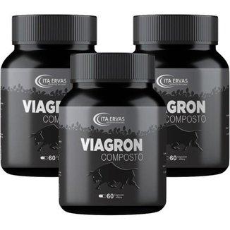 3 Potes Viagron Composto 500mg Itaervas 60 Cápsulas
