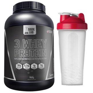 3 Whey Protein 900g Baunilha + Shaker 600ml Dark Lab
