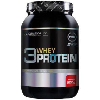 3 Whey Protein - 900gr - Morango - Probiótica