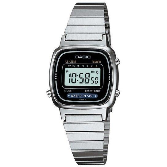 b7bd88fbedf Relógio Casio Feminino Vintage La670Wa-1Df - Prata e Preto - Compre ...