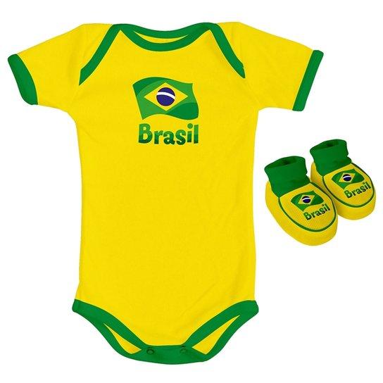 f561302265 Kit Body + Sapatinho Infantil Torcida Baby Brasil Masculino - Amarelo
