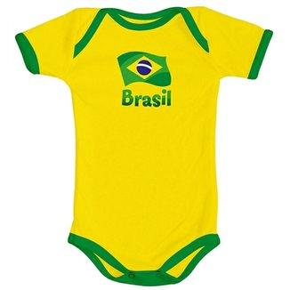 02baa18244 Body Curto Infantil Torcida Baby Brasil Unissex