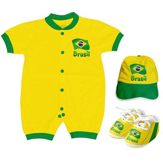 Kit Body Curto + Sapatinho e Boné Torcida Baby Brasil Unissex - Amarelo e35b908ac7137