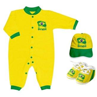 baf8018fec Kit Body Longo + Sapatinho e Boné Torcida Baby Brasil Unissex