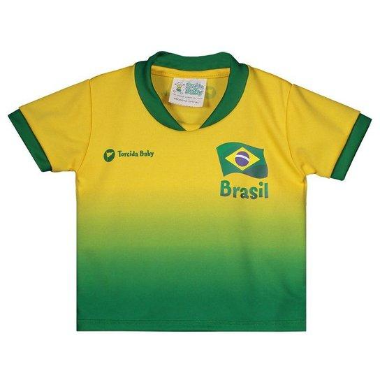 304177563b Camisa Brasil Infantil Torcida Baby Masculina - Amarelo - Compre ...