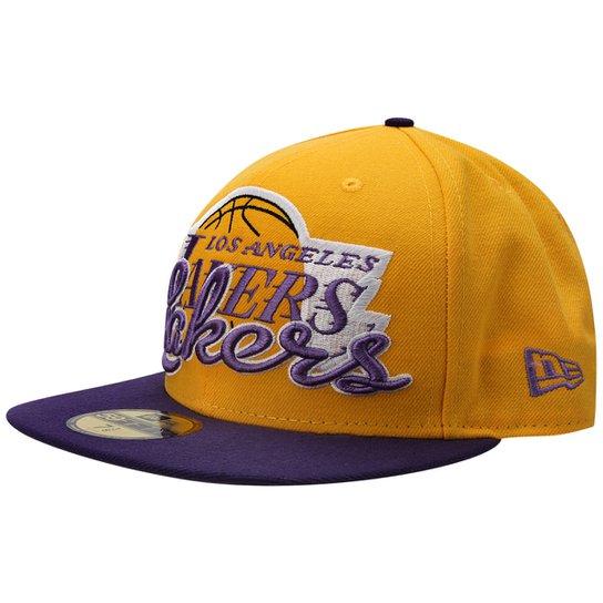 Boné New Era NBA 5950 Script Down Los Angeles Lakers - Amarelo ... af3a417e1e0