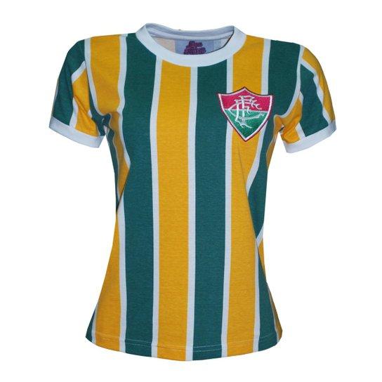 Camisa Liga Retrô Fluminense Brasil Feminino - Edição Limitada - Amarelo 356c2a9cfb816