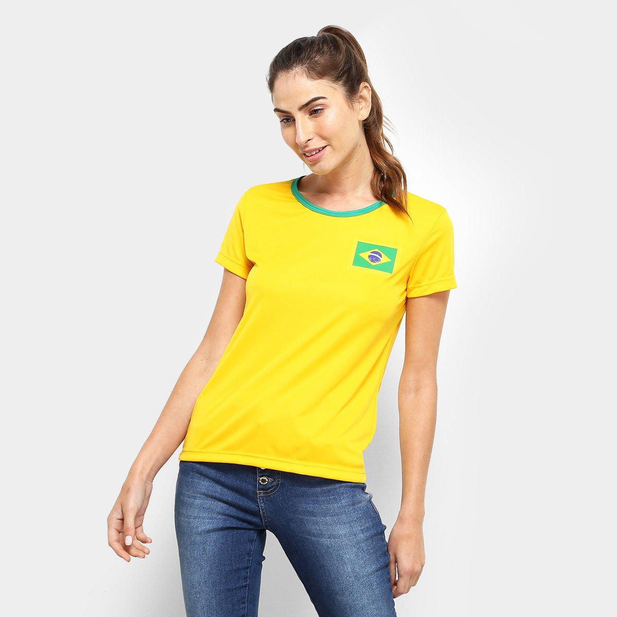 Camisa Brasil Torcedor Feminina - Dotz  8f5014d0a7a82
