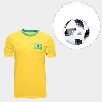 ac53838a22 Kit Bola Adidas Telstar Copa do Mundo FIFA + Camisa Brasil Torcedor