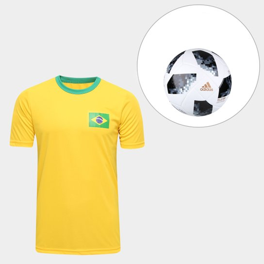 a0bdddfe2 Kit Bola Adidas Telstar Copa do Mundo FIFA + Camisa Brasil Torcedor -  Amarelo