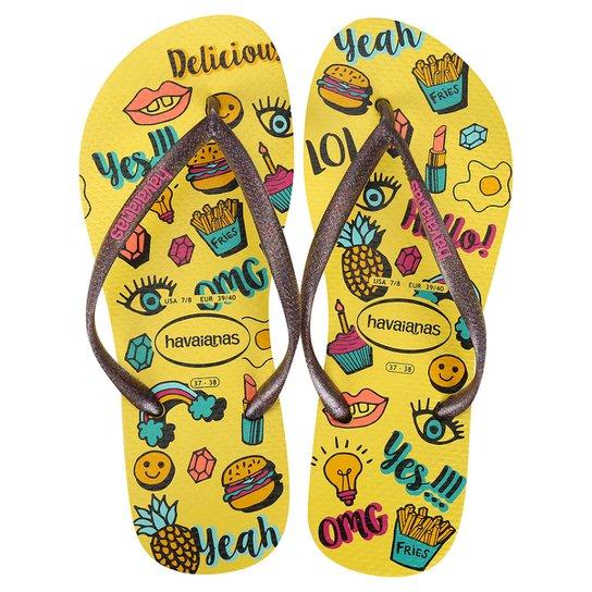 Havaianas Slim Cool - Amarelo e Azul - Compre Agora   Netshoes d5bea3f9f1