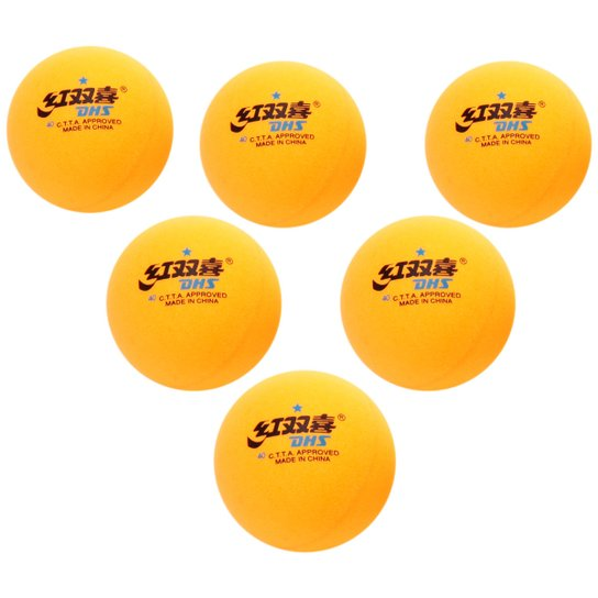 947939268 Bola DHS Tênis de Mesa   Ping Pong 1 Estrela - 6 Un. - Amarelo