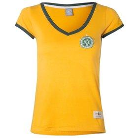 ae4be3866f15b Camisa Feminina Baby Look Retrô Gol Chapecoense Seleção Brasil Torcedo.