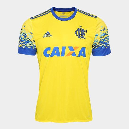 Camisa Flamengo III 17 18 s nº Torcedor Adidas Masculina - Amarelo+Azul 5ebf0332fffc5