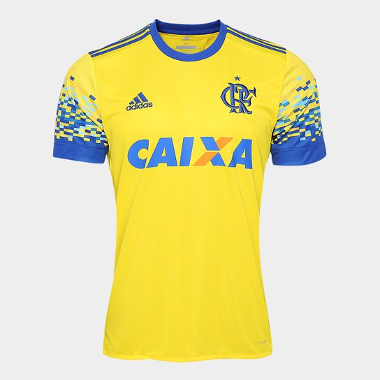 Camisa Flamengo III 17 18 s nº Torcedor Adidas Masculina - Amarelo+Azul bec822b7782