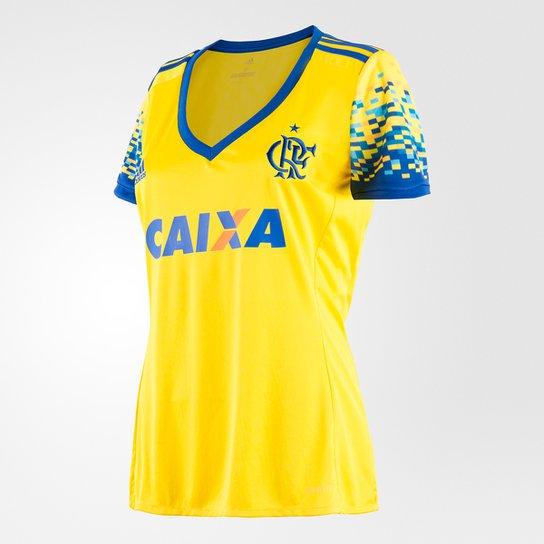 Camisa Flamengo III 17 18 s nº Torcedor Adidas Feminina - Amarelo e ... ee4f0774ebe8b