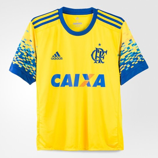 Camisa Flamengo Infantil III 17 18 s nº Torcedor Adidas - Amarelo+Azul bd250a240b2