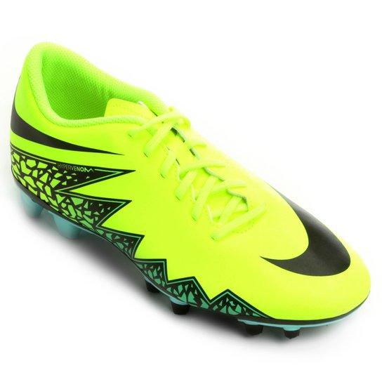 Chuteira Campo Nike Hypervenom Phade 2 FG Masculina - Verde Limão+Preto 4d1720bb426ae