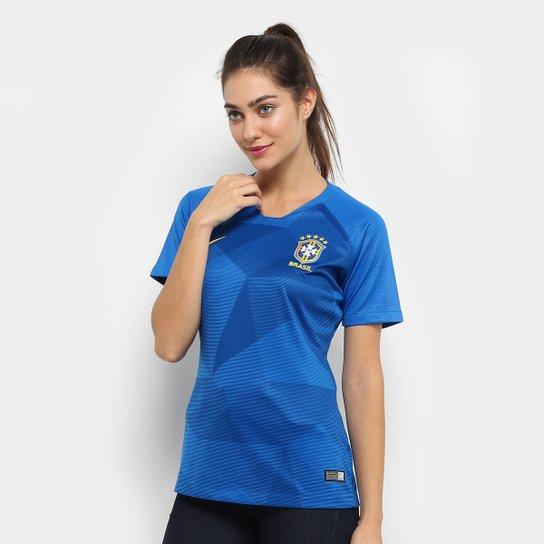 de5e8c1601 Camisa Seleção Brasil II 2018 s n° - Torcedor Nike Feminina - Azul ...