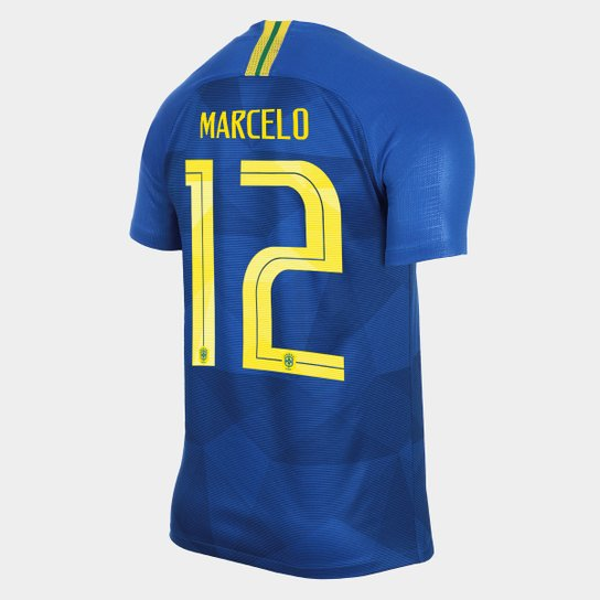 27ca9513a4649 Camisa Seleção Brasil II 2018 nº 12 Marcelo - Torcedor Nike Masculina - Azul