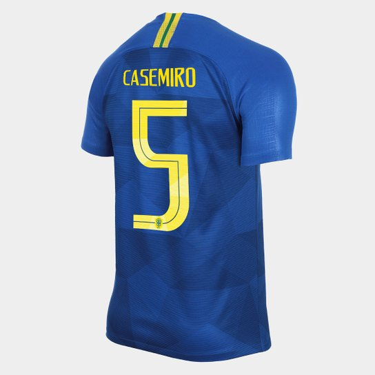 5ae31deb5f Camisa Seleção Brasil II 2018 nº 5 Casemiro - Torcedor Nike Masculina - Azul