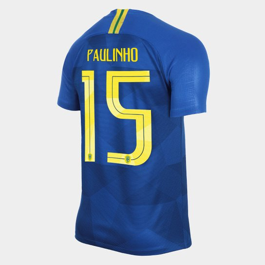 40c904141 Camisa Seleção Brasil II 2018 nº 15 Paulinho - Torcedor Nike Masculina -  Azul