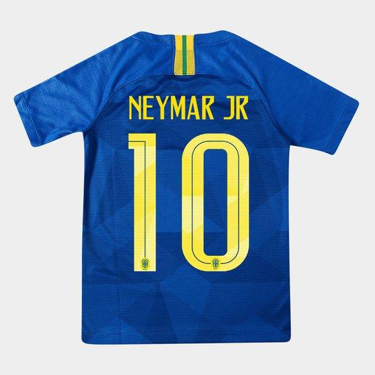 87f0ad2eb Camisa Seleção Brasil Juvenil II 2018 nº 10 Neymar Jr - Torcedor Nike - Azul