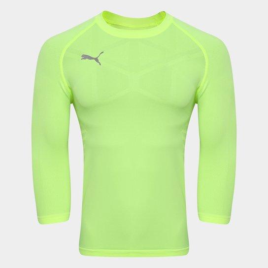 Camiseta Compressão Puma Manga Longa Futebol Next Masculina - Amarelo 93fe519a9dda5