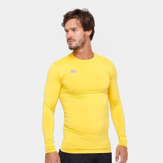 0cf401e1c1559 Camiseta Kappa Térmica Grip Manga Longa Masculina - Amarelo
