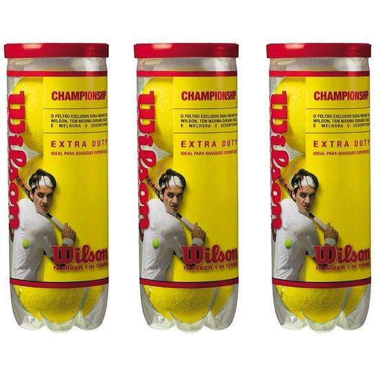 fd385898fb Bola De Tenis Wilson Championship - Pack 09 Bolas - 03 Tubos - Amarelo