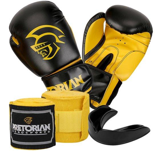 9101ac6ed Kit Boxe Muay Thai First Pretorian Bucal + Bandagem + Luva 12 Oz - Amarelo