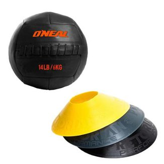 ca8002682db81 Kit 12 Half Cones Chapéu Chinês Pretorian Hc-Pp + Bola De Couro Crossfit 6