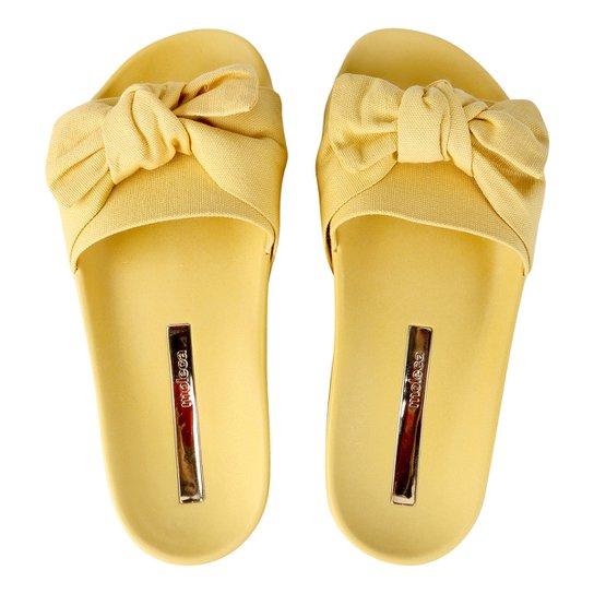 524316843 Chinelo Moleca Slide Laço Feminino - Amarelo | Netshoes