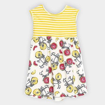 Vestido Infantil Up Baby Evasê Estampa Listrada Frutas