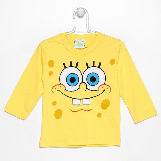 cac8060f6e Camiseta Kamylus Bob Esponja Infantil - Amarelo