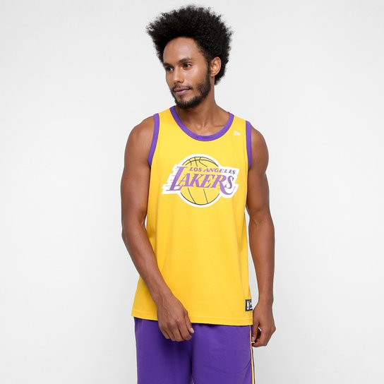 d7d38ba57 Camiseta Regata New Era NBA Basic Logo Los Angeles Lakers - Amarelo ...