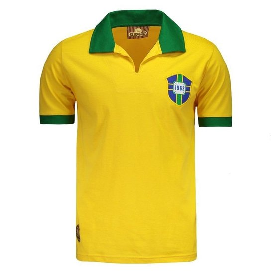 44b48f2dc Camisa Brasil Retrô 1962 Nº 7 Masculina - Compre Agora