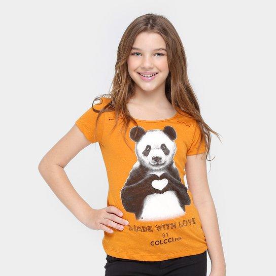 96ab216b3 Camiseta Colcci Fun Urso Panda Infantil - Amarelo Escuro