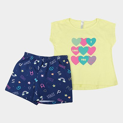Pijama Infantil Liberta Curto Love Feminino